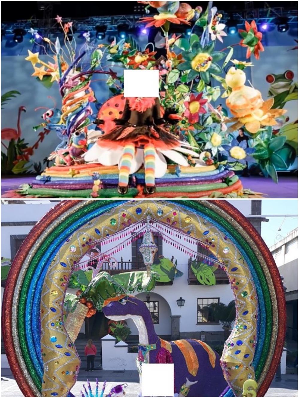 Traje de 2017 (arriba) y de 2018 (abajo), con el arcoíris que ha sido motivo de acusación de plagio